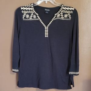 Lucky Brand Navy Embroidered top SZ M